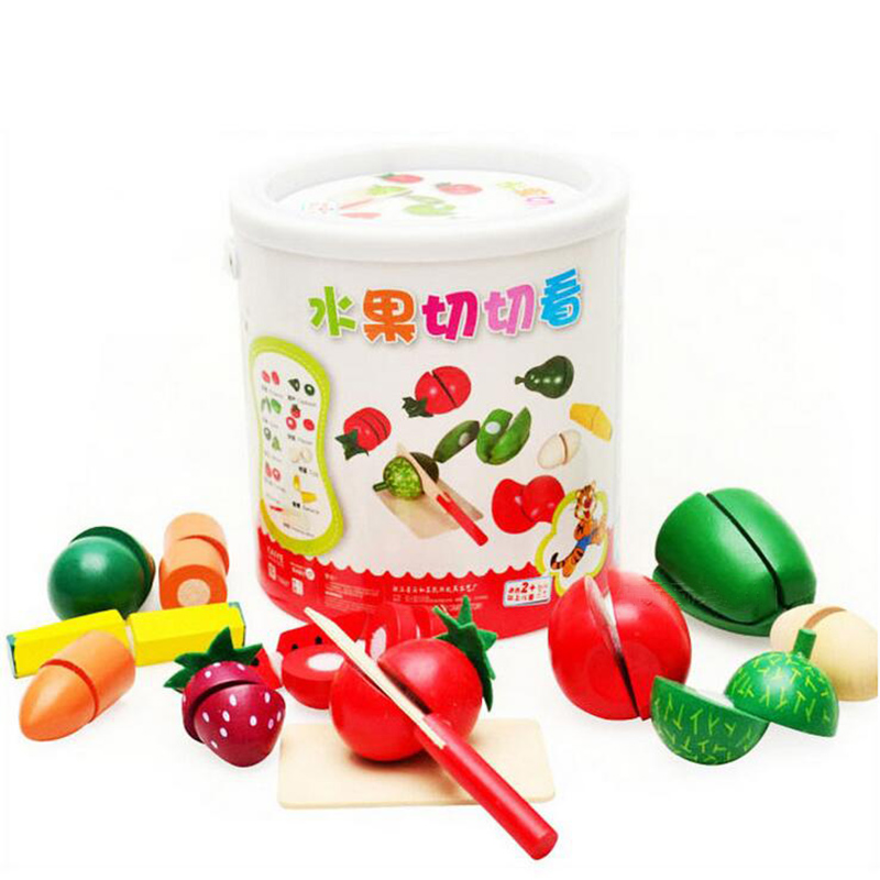 TOFOCO Wooden Kitchen Toys Cutting Fruit Vegetable Play miniature Food Kids Wooden baby early education food toys ...