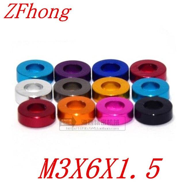Lave-linge plat en aluminium | 100 pièces M3 * 6*1.5 3mm coloré rouge noir bleu violet rose gris aluminium pour Rc Part th
