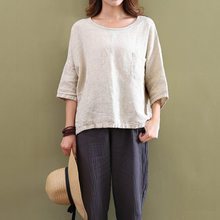 5afc3ff6d163 new Womens Vintage solid color cotton linen tshirt 2018 Flax 3/4 Sleeve O  Neck Loose tee shirt Tunic t Shirt summer Top lady