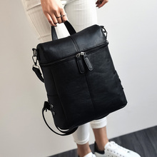 цены на Fashion Vintage Solid Black Shoulder Bag  Simple Style Backpack Women Leather Backpacks For Teenage Girls School Bags  в интернет-магазинах