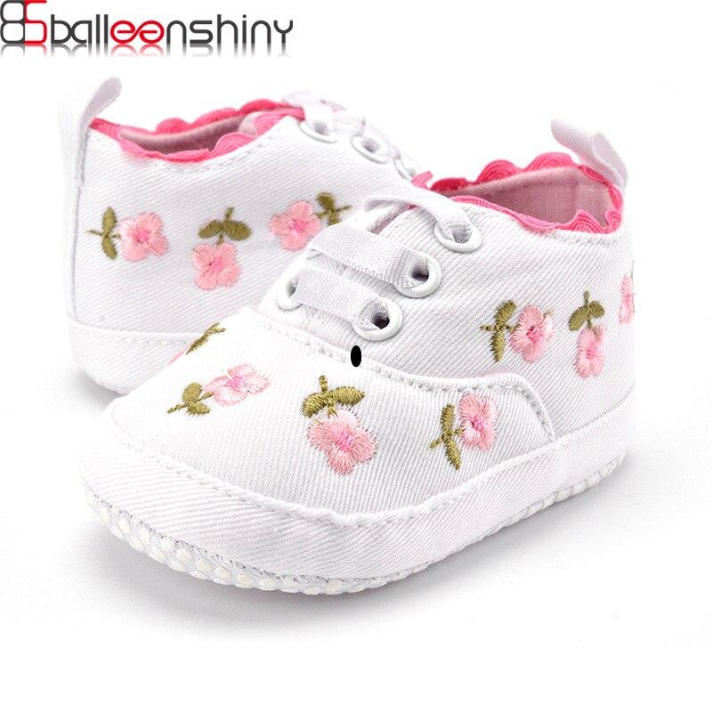 BalleenShiny Мягкие Детские обувь для девочек младенческой малыша Цветочные вышитые обув ...