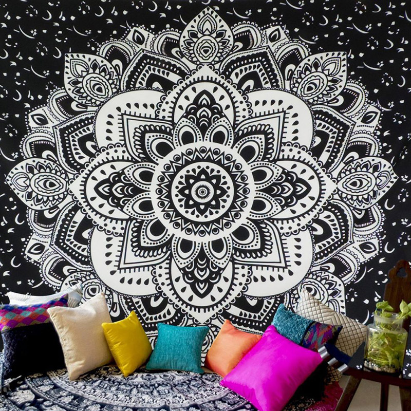 Indische Mandala Tapisserie Tai Chi Wand Hängen Wandteppiche Hippie Bohemian Schwarz Braun Dekorative Wand Teppich Yoga Matten