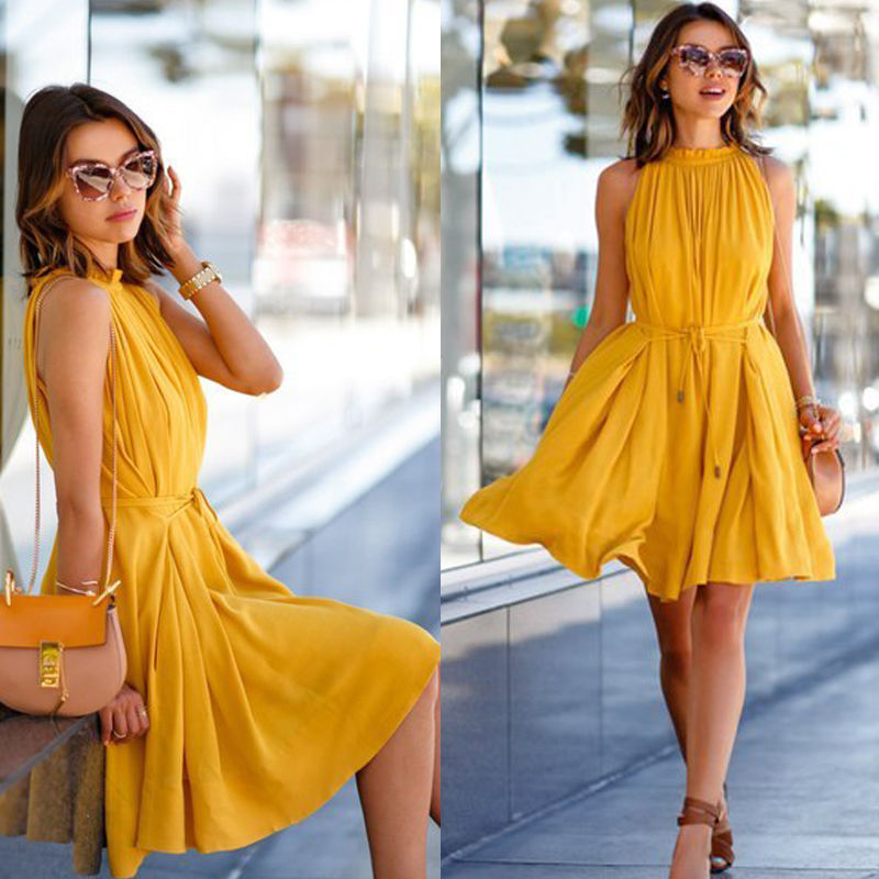 c570586d03c6 Muiches 2017 Summer Dress Casual Yellow Sleeveless Evening Party Beach  Dresses Short Mini Women Dress-in Dresses from Women s Clothing on  Aliexpress.com ...