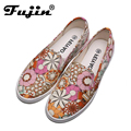 fast shipping flower designer brand floral flat shoes 2017 spring new women casual shoes woman lady shoe