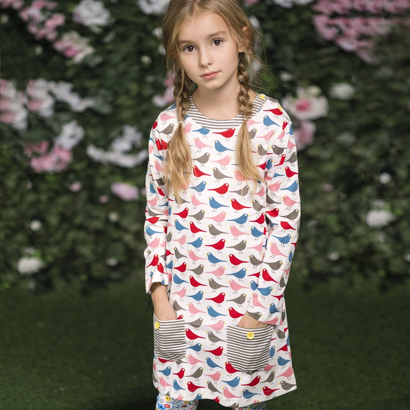Girl Dress Robe Fille Long Sleeve Vestido Moana Dress 100% Cotton Baby Girl Clothes Animal Appliques Kids Dresses for Girls baby girl dress 100