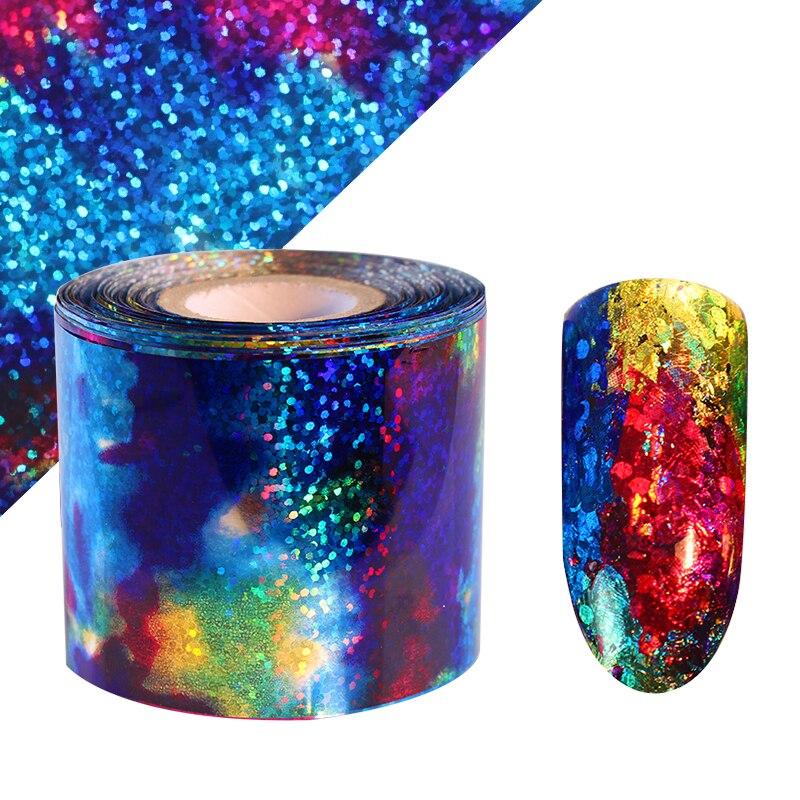 1 Roll Holographic Gradient Starry Sky Nail Foil Blue Paper 1m Decals Manicure Nail Sticker Decorations blue sky чаша северный олень