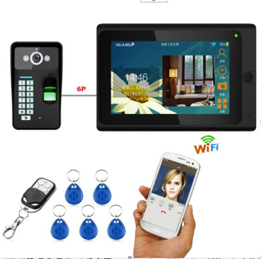 7 Inch Wired WIFI Password/ID Card/Fingerprint Access Control System Video Door Phone 700tvl hd id card password id card password door access control for wired video door phone