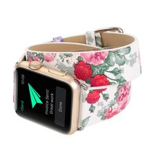 Women Flower Pattern Double Loop Leather Band For Apple Watch Strap 38mm 42mm 40mm 44mm Watchband For iwatch 1 2 3 4 Bracelet(China)