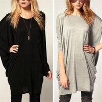 New Autumn Women T Shrit 2015 O Neck Batwing Long Sleeve T Shirt Women Black Gray