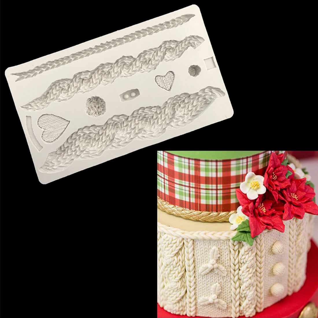 Newest! 3D Knitting Texture Silicone Mold Christmas Cake Border Fondant Molds Cake Decorating Tools Chocolate Gumpaste Mould