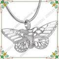 CMJ8144 Ahueca Hacia fuera forma de la mariposa colgante de acero inoxidable joyería de cremación de mascotas memorial cenizas collar para animales