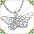 CMJ8144 Hollow out butterfly shape pendant pet cremation jewelry stainless steel memorial ash necklace for animal