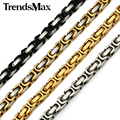 Trendsmax 18-36inch 5mm Gold Plated Chain Byzantine Box Stainless Steel Chain Boys Mens Necklace Jewelry KNM15
