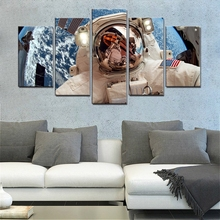 The American Astronauts in Space Poster Canvas Printed 5 Pieces Wall Art Painting for Dining Room Office Wall Decor Dropshipping astronauts in space