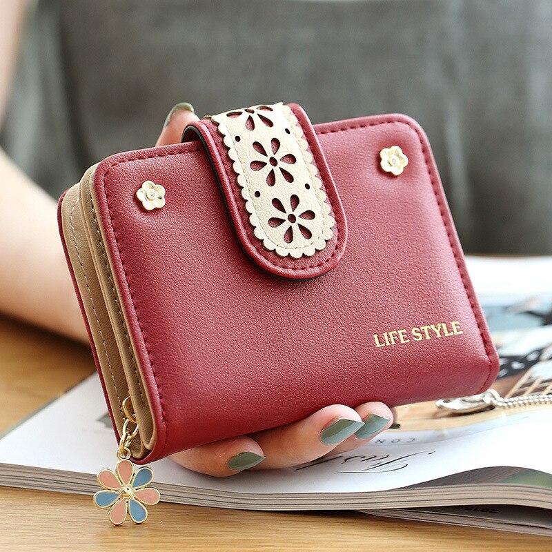 Women's Purse Short Hasp PU Wallet Ladies Zipper Fold Hollow Out Purse Fashion Female Pendant High Quality Purse Card Holder