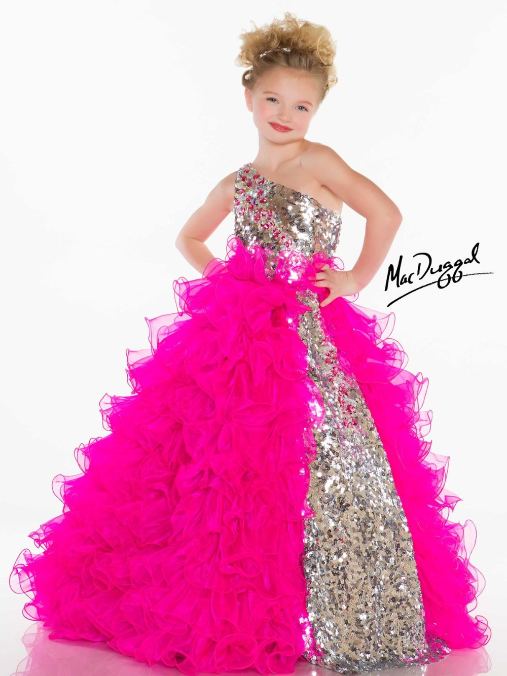 free shipping first communion   dresses   for   girls   ruffles   Flower     Girl     Dresses   2015 vestido Pageant one shoulder crystal sequined