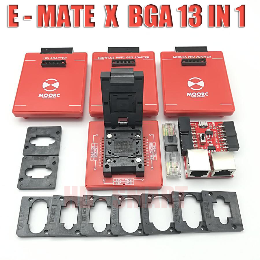 Image 2 - New MOORC  E MATE  X   E MATE PRO BOX EMATE EMMC BGA 13in 1 SUPPORT  100 136 168 153 169 162 186 221 529 254 easy jtag plus-in Communications Parts from Cellphones & Telecommunications