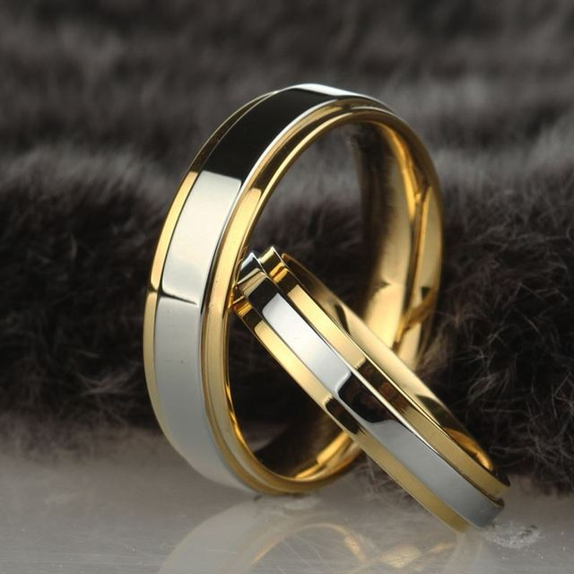 Stainless steel Wedding Ring Silver Gold Color Simple Design Couple Alliance Rin