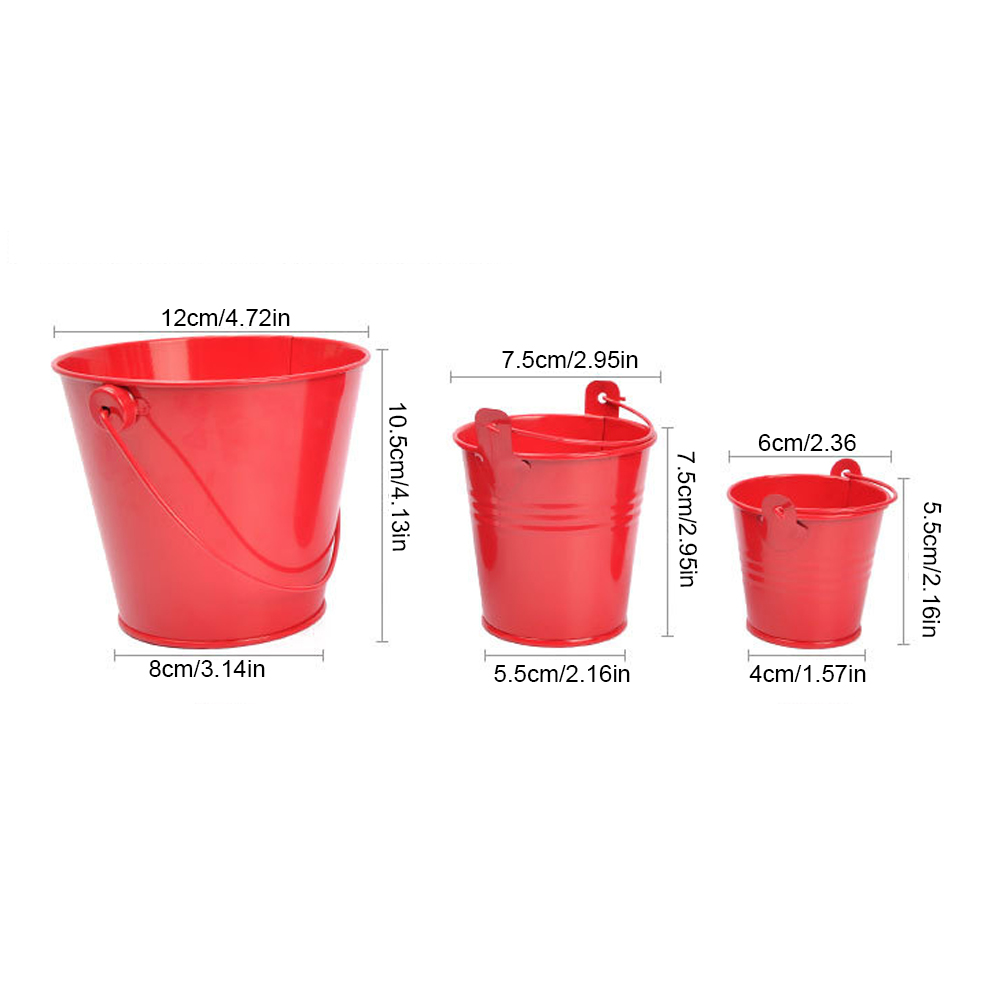 Small Iron Bucket Tinplate Mini Keg Bathroom Kitchen Household Water Outdoor Garden Watering Flower Container Gadget