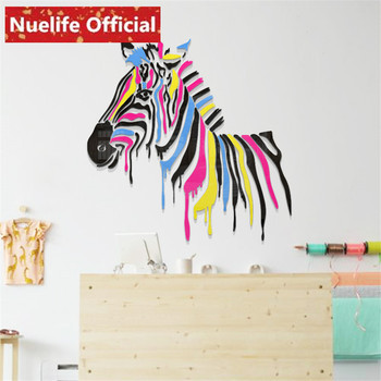 Color cartoon zebra design 3d acrylic wall stickers kids room kindergarten living room bedroom sofa background wall stickers N3