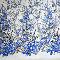 1Yard High Quality Multicolor Flower Embroidered Fabric Material African Lace Net Fabric Sew On Wedding Dress Robe Fabric Diy