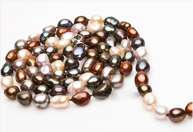 [MeiBaPJ] Luxury Style Baroque Pearl Long Sweater Necklace Personalized Necklace Wedding Jewelry Colourful Fine Jewelry Gift Bag