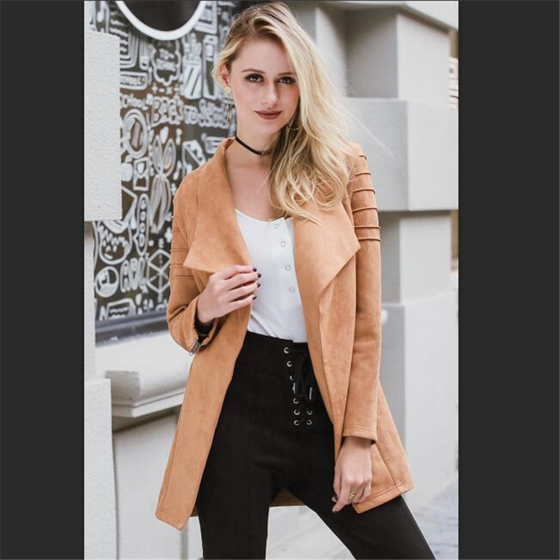 Winter 2019 Outwear Women   Basic     Jacket   Streetwear Lily Rosie Girl Khaki Suede Leather   Jacket   Casual Zipper Long Open Coat Autumn