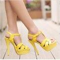 2016 reais genuínos mulheres de couro sandálias de festa Sexy sapatos de salto Alto plataformas Sandália Senhoras Nu Vermelho azul Amarelo Sapatos de salto Fino bombas