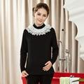 Outono e Inverno nova Maternidade Blusas e Tops Roupa Blusa de Gola Alta para As Mulheres Grávidas Gravidez Tops de Renda