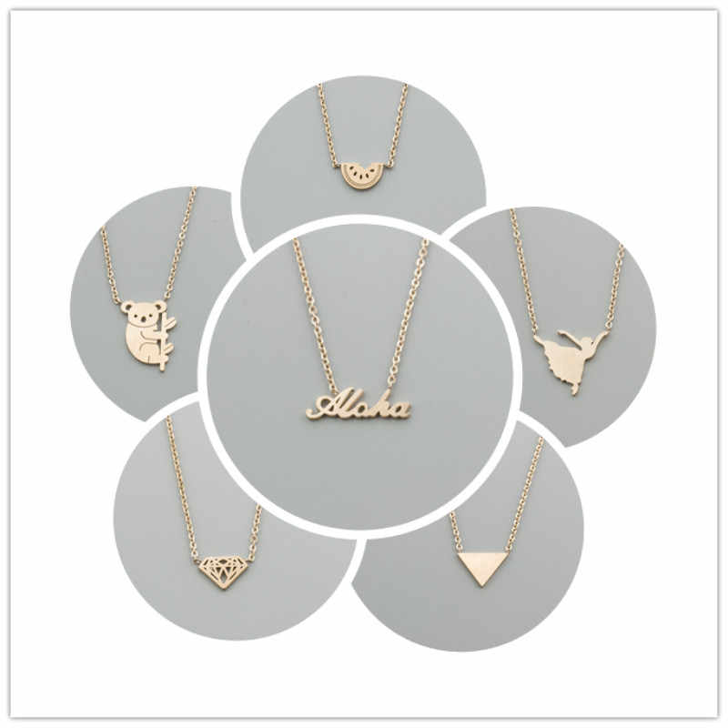Hawaiian Style Rose Gold Chain Watermelon Dancing Girl Triangle Cone Koala Lettering Aloha Pendant Necklaces for Women Jewelry
