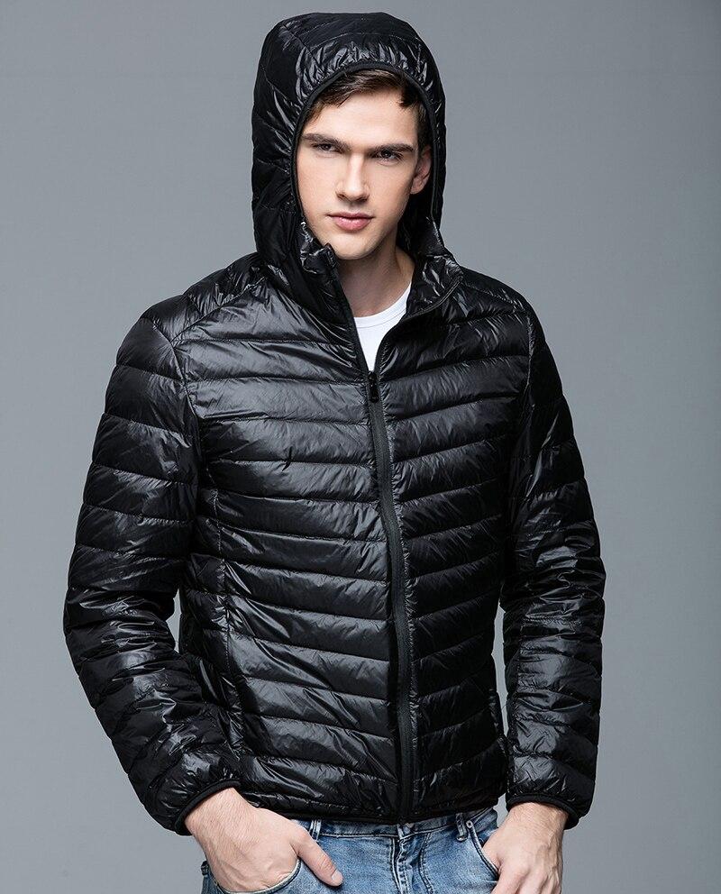 Человек Пуховики и парки для мужчин зима 90% Белое пуховое пальто с капюшоном ультра легкий Пуховики и парки для мужчин теплая верхняя одежда пальто Мужские парки на открытом воздухе uhlulc