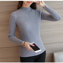 2018 Autumn Winter Women Knitted Sweater Pullover Long Sleeve Black White Half Turtleneck Sweater Jumper Pull Femme A738(China)