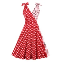 Sisjuly Women Vintage Dress 1950s Red Polka Dots Patchwork Retro Dresses Cute Bowknot Sleeveless Elegant Vintage