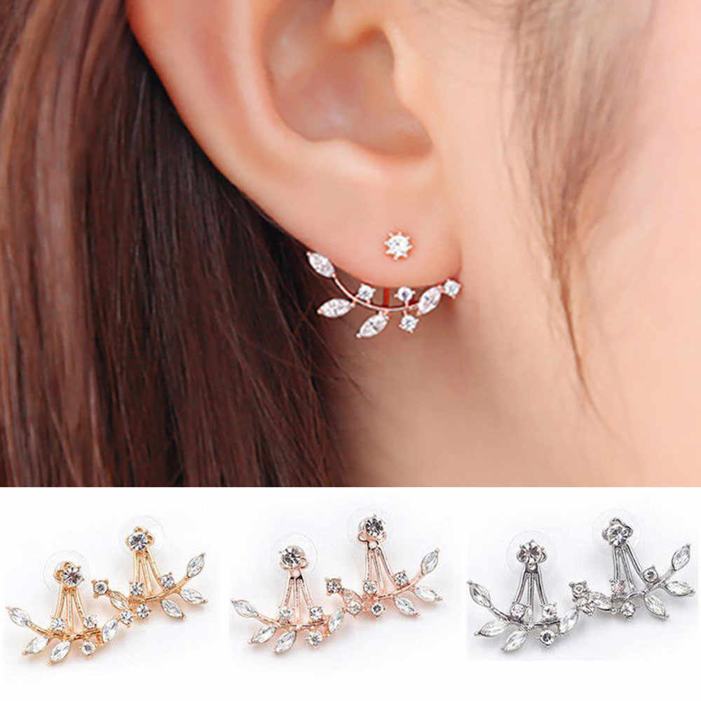 New Style 1Pair Women Fashion Leaf Crystal Ear Stud Earrings Earring Jewelry Gift Romantic Ornaments Jewelry Accessories Earring
