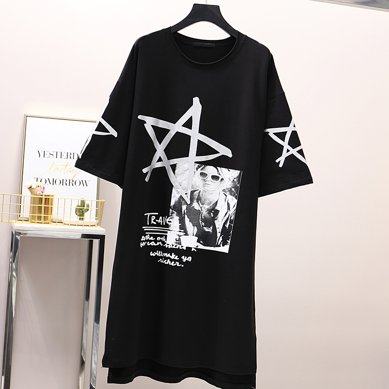 long graphic women letter printing shirt ladies knee like club cotton dress summer 2019 girls loose casual plus size tunic in T Shirts from Women 39 s Clothing