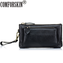 2017 Feminine Famous Brands Casual Double Zipper Flap Bag Good Quality Split Leather Women Day Clutches Best Price  On Sale