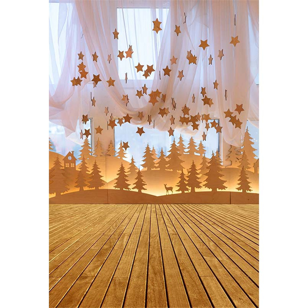 Indoor Window Photography Backdrop Printed Curtain Stars Decor Paper Cut Desert Land Trees Kids Fairy Tale Background Wood Floor