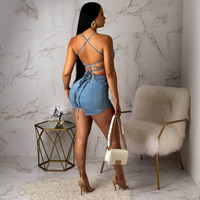 Sexy Denim Pantsuits 2019 NEW Straps Rompers Lace up Back Jumpsuits Blue Playsuits Club Daily Party Sleeveless Bodycon ME Q212