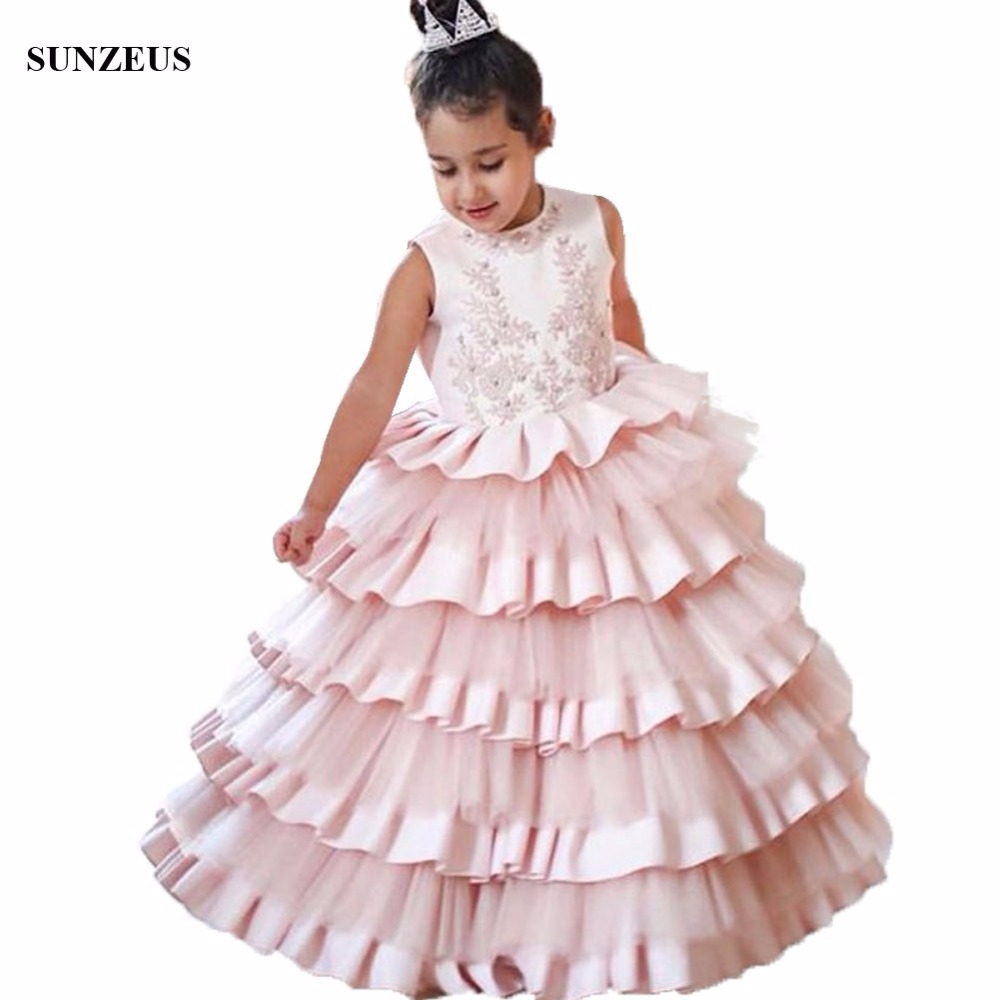 Luxury Ball Gowns Ruffles   Flower     Girl     Dress   Appliques Tank Satin Tulle Long Children Party Gowns Pincess Wear FLG031