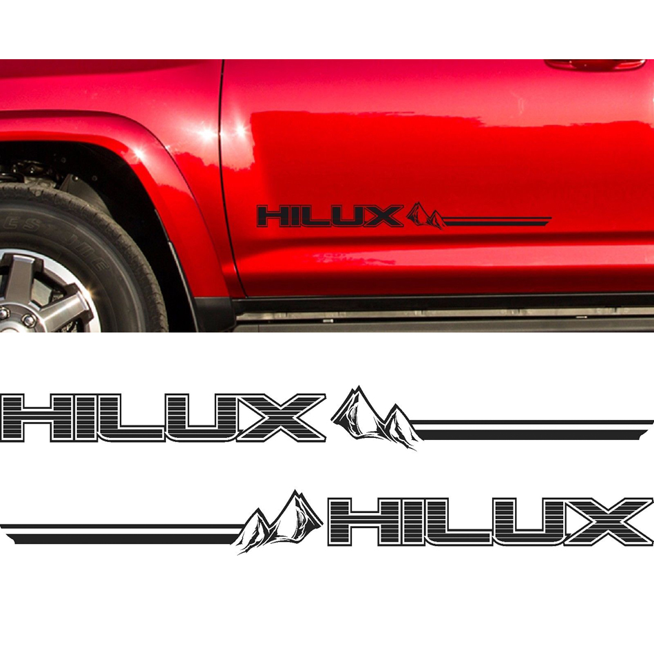 2PC free shipping hilux racing side stripe graphic Vinyl sticker for TOYOTA HILUX decals 2 pc hilux hilux chequered racing side stripe graphic vinyl sticker for toyota hilux decals