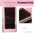 6 Bandejas, 16 filas/caja, color marrón extensión de pestañas, Cejas Extensiones de Visón