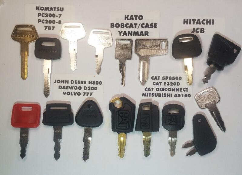 ( 16 ) Keys FOR John Deere, Cat Equipment, JCB, Komatsu, for Volvo Key  Excavator Key Set