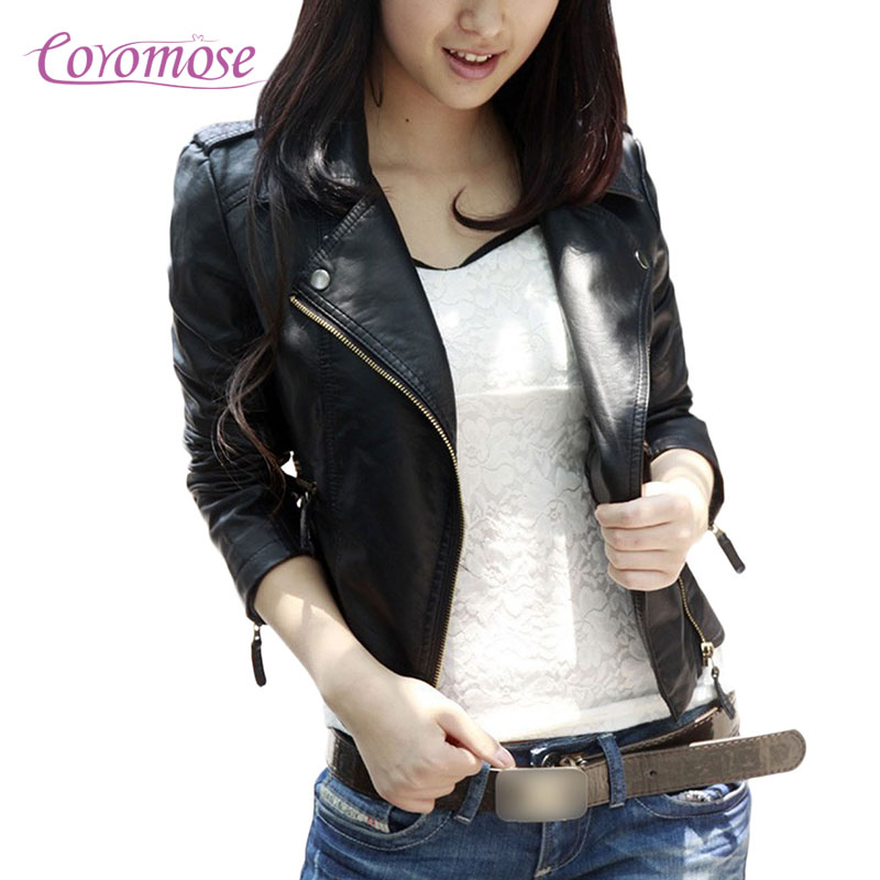 Coromose 2017 New Fashion Women Wine Red Faux Leather Jackets Lady Bomber Motorcycle Cool Outerwear Coat