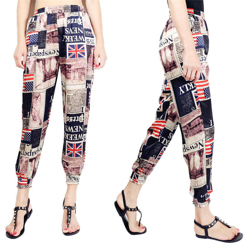 Loose Harem Pant High Waist Show Thin Printed Women's Wear Casual Ankle-Length Trousers Pockets 13