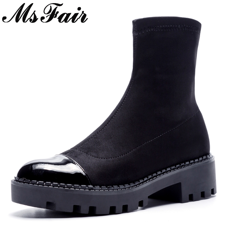 MsFair Women Round Toe Thick Bottom Boots Concise Fashion Ankle Boots Shoes Woman Winter Elegant Black Ankle Boots Women Shoes msstor round toe thick bottom women boots casual fashion concise ankle boots women shoes mature elegant platform boots women