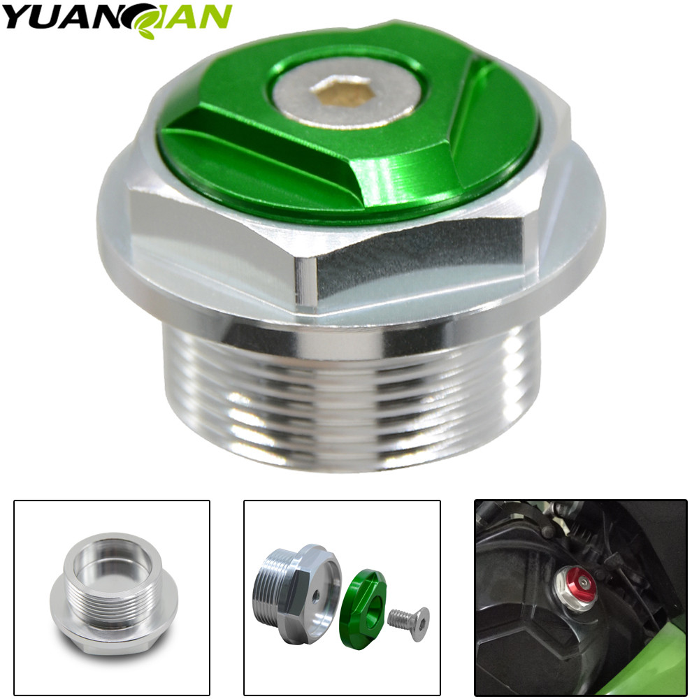 FOR ninja 200 300 Motorcycle CNC Aluminum Engine Oil Filter Cup Plug Cover Screw for Kawasaki