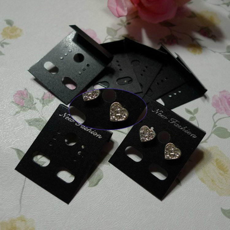 Beautiful 2017 New Arrival 100pcs Professional Plastic Earring Ear Studs Holder Display Hang Cards Black