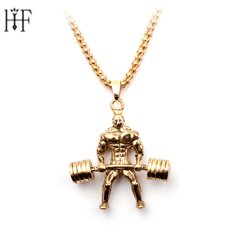 Weightlifting Athletes Pendant Men Necklaces Barbell