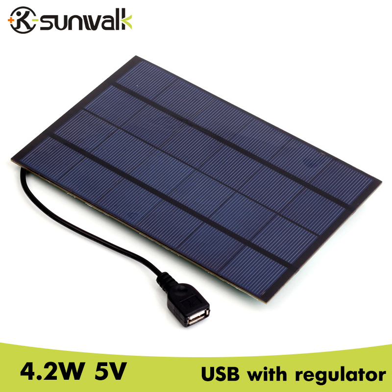 SUNWALK 4.2W 5V Solar Panel Battery Charger with Stabilizer USB Output 660mAh Monocrystalline Solar Charger for Mobile 200*130mm