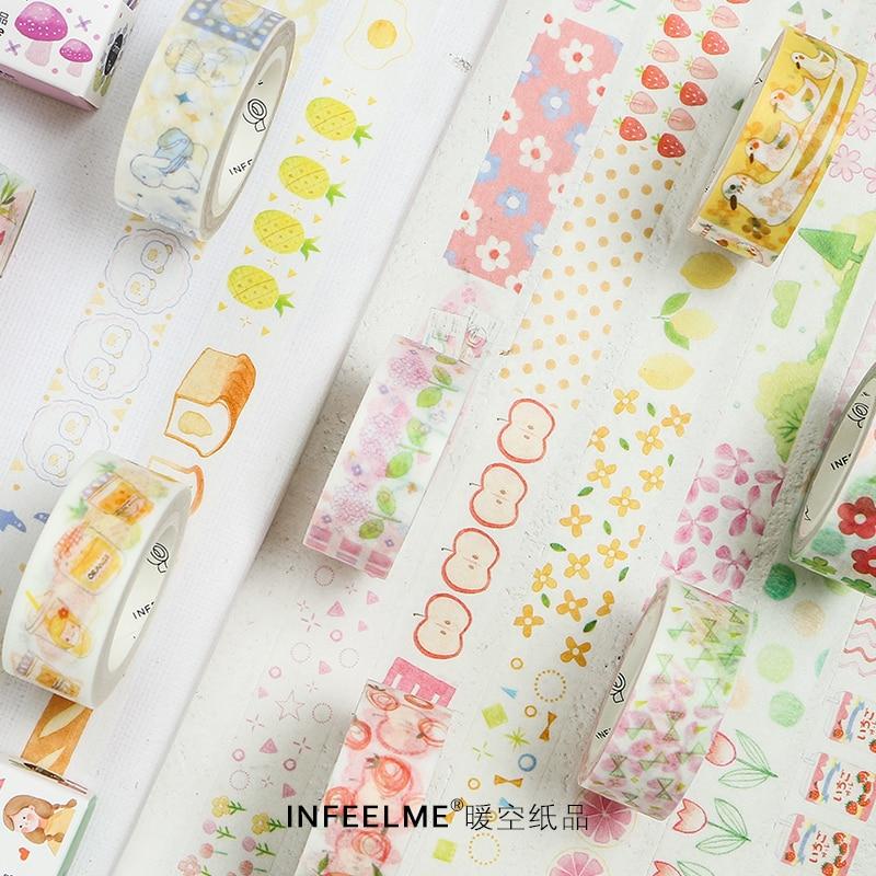 Kawaii Fruits Flowers Washi Tape Scrapbooking Decorative Masking Tapes Paper Japanese Stationery Sticker Adhesive Tape 15mm 7m